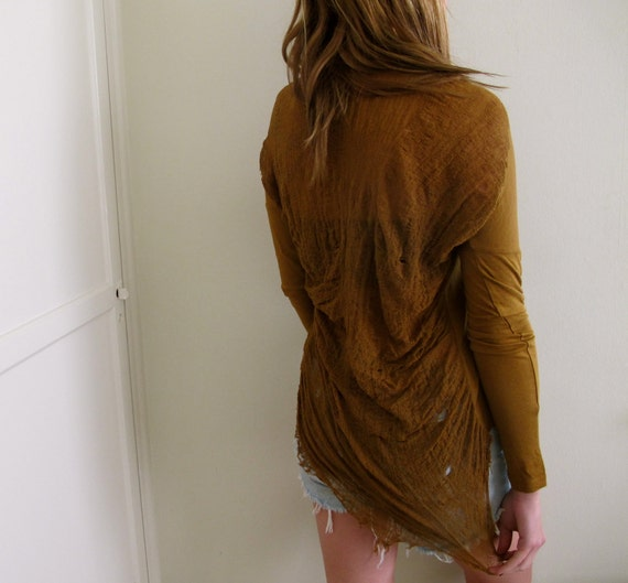 Brown Shredded Back Shirt Distressed Tunic Ripped Torn Crop Top Cropped
