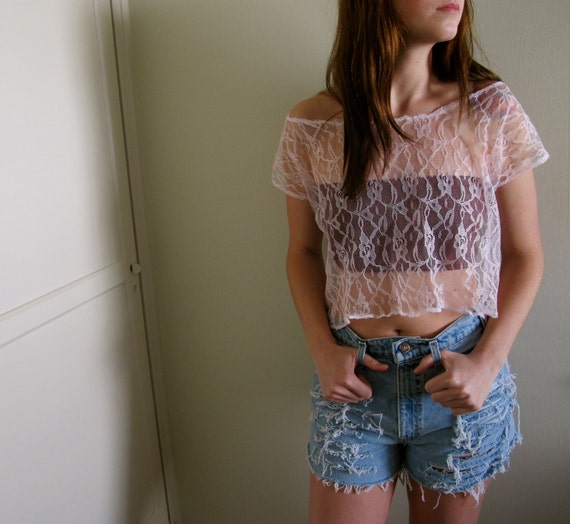Pink Lace Crop Top See Through Hi Lo High Low Lace Sexy Urban