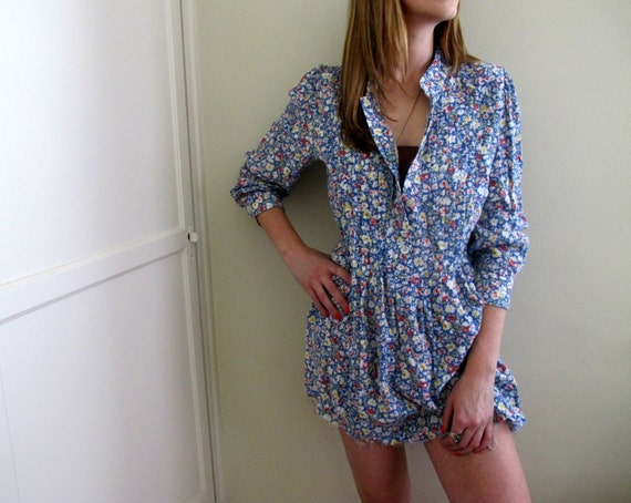 Vintage Floral Print Dress Tunic Blue Summer