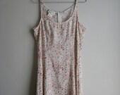 Vintage SLIP DRESS Sheer Feminine Tank DAINTY Faded Floral Print Garden Party 90s