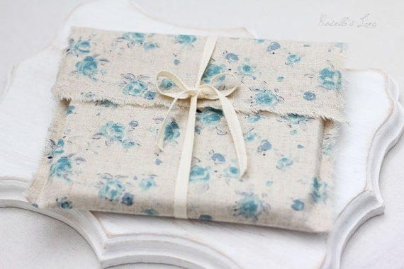 CD packaging - 10 linen envelopes - floral CD packaging - gift wrap - Ready to ship