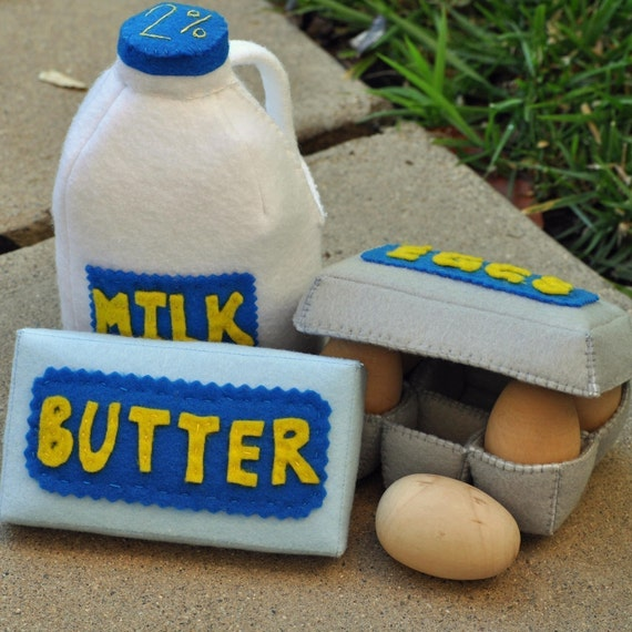 Felt Food Refrigerated Set- Gallon of Milk, Butter and Eggs