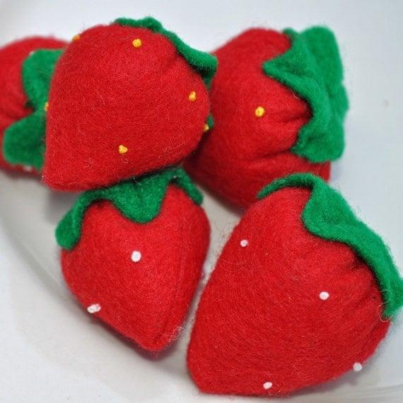 Felt Food Strawberries - Set of 5