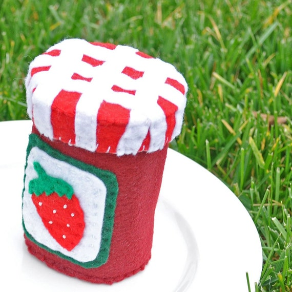 Felt Food Jelly Jam Jar with Interactive spread