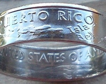 2009 Silver Puerto Rico Quarter Coin Ring (90% Silver) (Available in sizes 4 through 9)