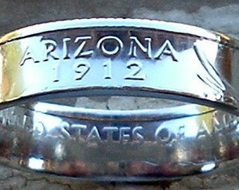 2008 Silver Arizona State Quarter Coin Ring (Available in sizes 5 through 10)