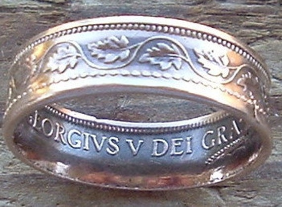 1919 Canadian Large Cent Copper Coin Ring in a size 8