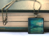 Blue Sunset - ONE OF A KIND - Glass - Bronze backing and Chain