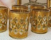 Six 1950's Culver Ltd Gold Filigree Double Old Fashioned Highball Glasses