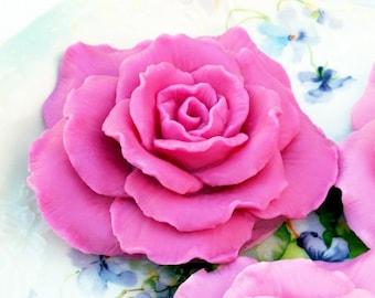 Rose Shaped Soap, Stargazer Lily Scent, Dark Pink Rose