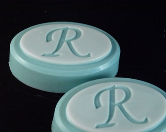 CUSTOM ORDER for ARETRONEDO Monogrammed Soap, one in initial R, one in initial T. white face, gray body. scent to be advised of