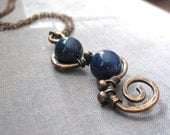 Peacock - lapis lazuli and copper necklace