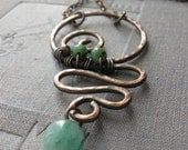 Horizon II - hammered copper necklace with ruby in zoisite and aventurine
