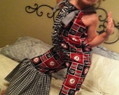 Toddler Girl Alabama Romper with Gigantic Houndstooth Ruffles and Knot Ties
