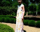Toddler to Tween Girl Coral Grace Maxi Halter Tie Sundress