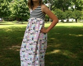 Toddler to Tween Girl Knit Graffiti Print Maxi Dress with Halter Tie