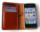 Hand-Stitched iPHONE 4 / 4S WALLET with a Silicone Case (Free Monogramming)