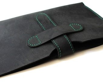 Hand-Stitched iPad Mini / iPad Air / Galaxy Tab / Tablet case in oiled BLACK Leather