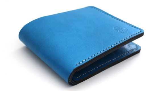 Hand stitched Billfold Leather Wallet in Deep Sky Blue