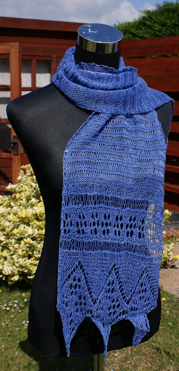 Hand knitted blue linen lace scarf / stole