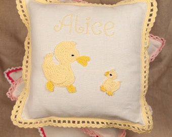 Yellow ducks handmade personalised cushion - baby boy and girl, newborn, birthday, baby gift, baby room