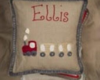 Train Personalised  Crochet Cushion- Baby/Child Newborn, Christening, Birthday, Baby Gift