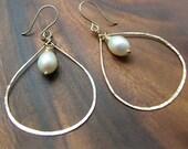 Pearl Teardrop Hoop Earrings