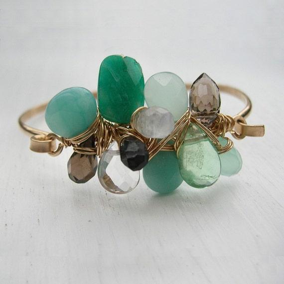 Green Scene - Gem Cluster Hinge Bracelet, Amazonite, Emerald, Cuff