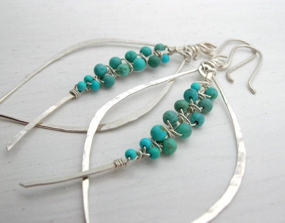 Peruvian Turquoise woven tusk Leaf Hoop Earrings