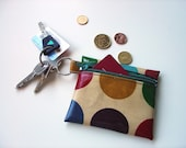 Coin Purse / Business or Credit Card Holder / ID wallet in jewel purple with green dotty Oilcloth by dottyspots design