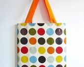 Library Tote /  Shopping Bag in orange red with orange handles by dotty spotts