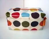 Large MakeUp / Wash Bag in orange red Spotty Oilcloth