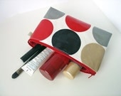 cosmetic / make up bag flat bottomed 5 x 9inch in big red dots with grey oilcloth by dotty spots