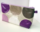 cosmetic / make up bag flat bottomed purple big dots oilcloth and lilac zip 5 x 9inch