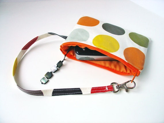 "SALE Black Friday through Cyber Monday - iPhone or Gadget Case Wristlet / zip purse - orange red with orange spotty oilcloth 4 x 6"""