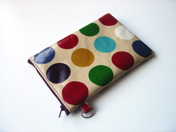 water resistant Kindle Fire / Nook Tablet / Nook Color / eReader pouch / sleeve / case in purple turquoise dots by dotty spots