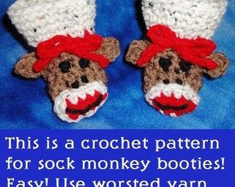Sock Monkey Baby Booties Crochet Pattern PDF instant digital download