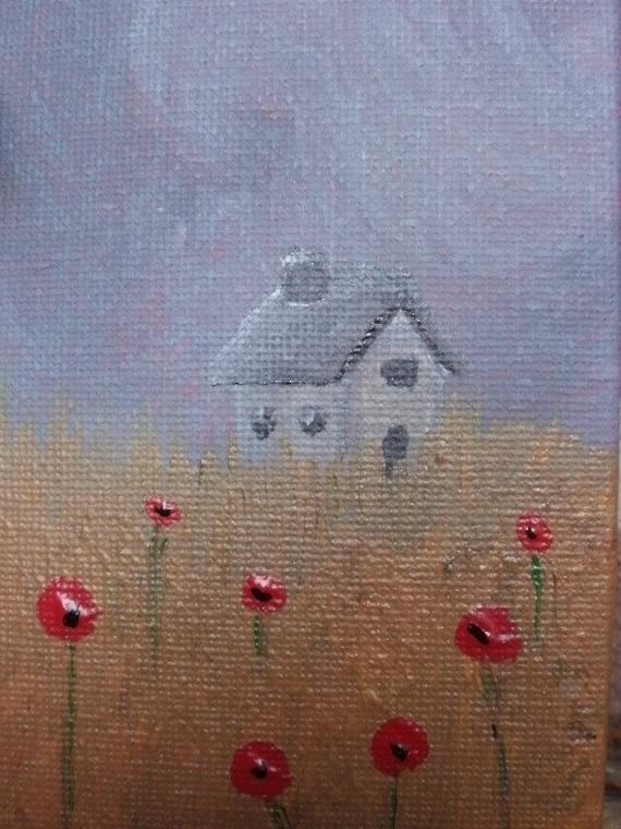 January SALE 20% discount - Grandma's Cottage - Original Acrylic Painting.