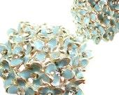 5 Hydrangea Enamel Rhinestone buttons Pastel Blue - Hair Accessories, Brooch Bouquet, Charm, Shoe Clips RB-046B (size 29mm or 1.1 inch)