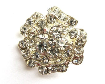 20 Rhinestone buttons for Wedding Decoration Invitation Card Ring Pillow Scrapbooking RB-019 (21mm or 0.8inch)