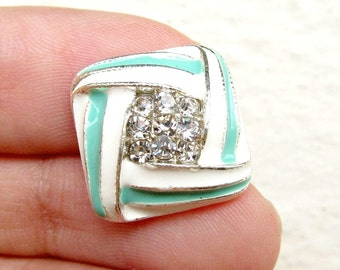 5  Pastel Green Enamel Rhinestone buttons, Mint Green Enamel, Haircomb Collage, Enamel Earring, RB-060 (size 16mm or 0.6 inch)