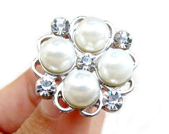 5 Pearl Crystal Rhinestone buttons for Wedding Hair Accessories Scrapbooking Invitation Card RB-061 (25mm or 1 inch)