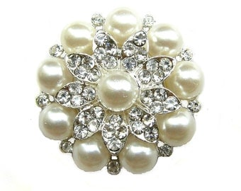 3pc Pearl Rhinestone Brooch - Wedding Cake Topper Shoe Clip Gift Box Ring Pillow BRO-001 (43mm or 1.7inch)