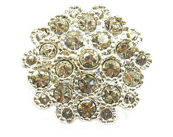 "5 Crystal Rhinestone Buttons for Wedding Decoration Invitation Card Hair Accessories Scrapbooking RB-008 (23mm or 0.9"")"