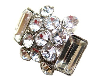 """5 Crystal Rhinestone Buttons for Wedding Decoration Hair Accessories Scrapbooking Ring Pillow RB-047 (24mm/19mm or 0.95""""/0.75"""")"""