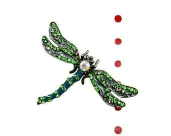 2 Enamel Brooch Dragonfly - Wedding Brooch, Millinery, Book Binding, Brooch Bouquet Hair Clip BRO-005 (60mm by 40mm or  2.4inch by 1.6inch)