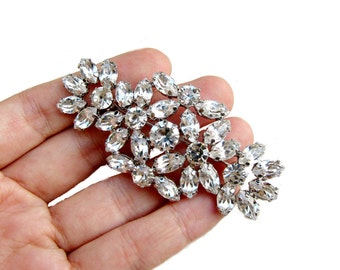 1 Crystal Rhinestone Brooch for Wedding Bridal Sash Cake Decoration Gift Box  Shoe Clip Ring Pillow BRO-014 (75mm  or 3 inch)