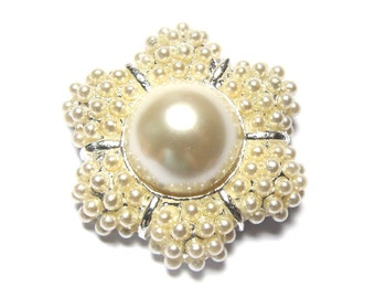 CLEARANCE - Pearl Buttons for Vintage Rustic Cottage Style Wedding Hair Accessories, Shoe Clips, Bouquet, Gift Box FRB-007 (38mm or 1.5inch)