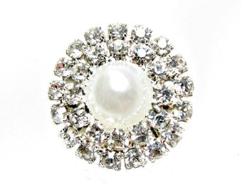 5 Pearl Crystal Rhinestone buttons for Wedding Decoration Invitation Card Scrapbooking Jewelry Supply RB-024 (18mm or 0.7inch)