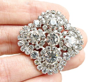6 Sparkling Crystal Rhinestone buttons for Wedding Decoration Invitation Card Shoe Clip Jewelry Supply RB-073 (28mm or 1.1inch)
